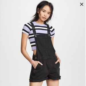 Madewell Overall Shorts in Washed Black